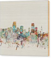 Miami Florida City Skyline Wood Print