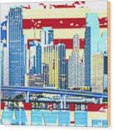 Miami Florida City Skyline Wood Print