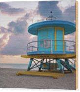 Miami Lifeguard Cabin At Sunrise Wood Print