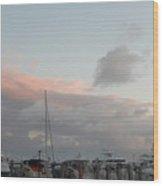 Miami Marina Clouds Wood Print