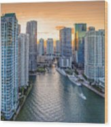 Miami River Fron The Drone Wood Print