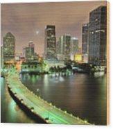 Miami Skyline At Night Wood Print