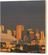 Miami Skyline At Sunset Wood Print