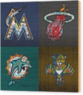 Miami Sports Fan Recycled Vintage Florida License Plate Art Marlins Heat Dolphins Panthers Wood Print