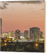 Miami Sunset Skyline Wood Print