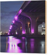 Miami Under The 395 At Night Wood Print