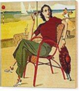 Miami, Woman On The Beach Under Sunshade Wood Print