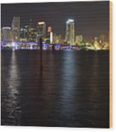 Miami's Downtown At Night Wood Print