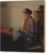 Michael Ancher - Skagen Girl, Maren Sofie, Knitting. Wood Print