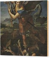 Michael Defeats Satan  Wood Print