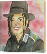 Michael Jackson - A Bright Smile Shining In The Sky Wood Print by Nicole Wang