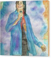 Michael Jackson - The Final Curtain Call Wood Print by Nicole Wang