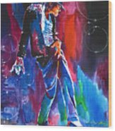 Michael Jackson Action Wood Print by David Lloyd Glover