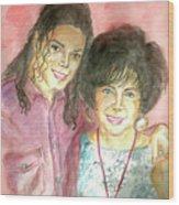 Michael Jackson And Elizabeth Taylor Wood Print by Nicole Wang