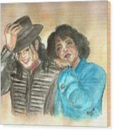 Michael Jackson And Oprah Wood Print by Nicole Wang