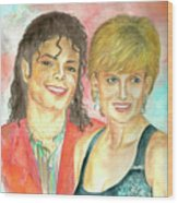 Michael Jackson And Princess Diana Wood Print by Nicole Wang