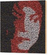 Michael Jackson Bottle Cap Mosaic Wood Print by Paul Van Scott