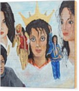 Michael Jackson-faces Wood Print by Janna Columbus