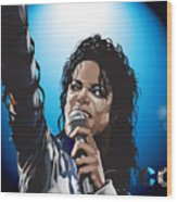Michael Jackson Icon Wood Print by Mike  Haslam