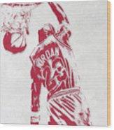 Michael Jordan Chicago Bulls Pixel Art 1 Wood Print