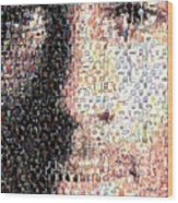 Michael Jordan Face Mosaic Wood Print