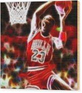Michael Jordan Magical Dunk Wood Print by Paul Van Scott