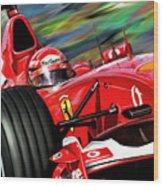 Michael Schumacher Ferrari Wood Print by David Kyte