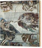 Michelangelo: Adam Wood Print