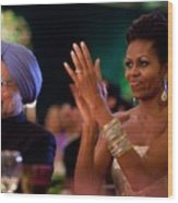 Michelle Obama Applauds Wood Print by Everett
