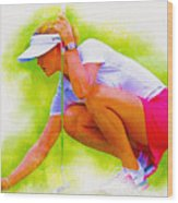Michelle Wie Of Usa Lined Her Ball Wood Print