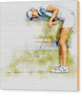 Michelle Wie Of Usa Putting At The  Lpga Lotte Championship  Wood Print