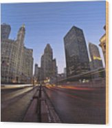 Michgan Avenue Action Wood Print