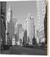 Michigan Ave Wide B-w Wood Print