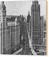 Michigan Avenue In Chicago Wood Print