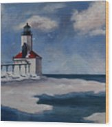 Michigan City Light Wood Print