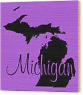 Michigan In Black Wood Print