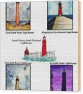 Michigan Lighthouses Montage Wood Print