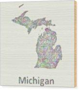 Michigan Line Art Map Wood Print
