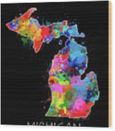 Michigan Map Color Splatter 2 Wood Print