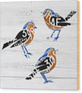 Michigan Robins State Bird Recycled Vintage License Plate Art On White Barn Wood Wood Print