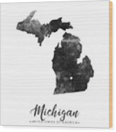 Michigan State Map Art - Grunge Silhouette Wood Print