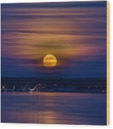 Michigan Super Moon Over Muskegon Lake Wood Print