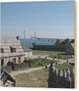 Michilimackinac And Mackinac Bridge Wood Print