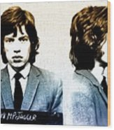 Mick Jagger Mugshot Wood Print by Bill Cannon