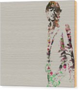 Mick Jagger Watercolor Wood Print by Naxart Studio