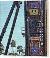 Mickey Donald Ferris Wheel California  Wood Print