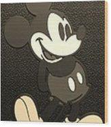 Mickey Mat Sepia Wood Print