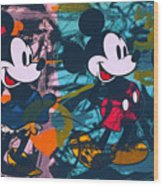 Mickey Mouse Vs. Minnie Mouse Stage On Wood Print
