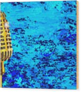 Microphone On Blues Fire Wood Print