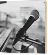 Microphone On Empty Stage Wood Print by Image By Randymsantaana